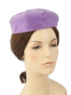 1960's Womens Accessories - Mod Velvet Cap Hat