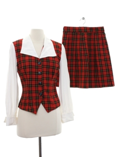 1980's Womens Totally 80s Matching Shirt Skirt Set