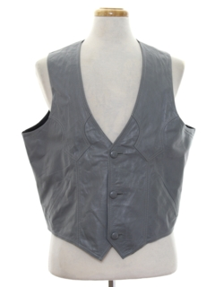 1980's Mens Leather Western Vest