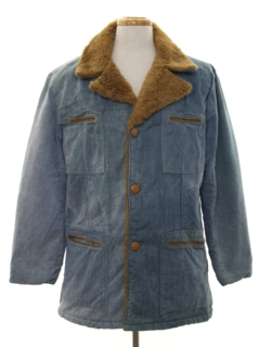 1970's Mens Denim Car Coat Jacket