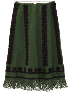 1970's Womens Embroidered Hippie Skirt