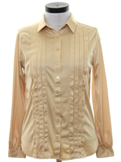 1980's Womens Totally 80s Pleated Solid Disco Shirt