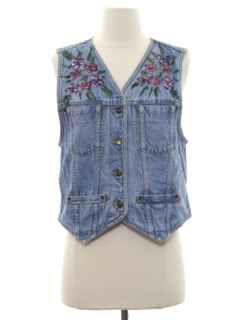 1980's Womens Denim Hippie Vest