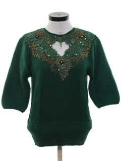 1980's Womens Totally 80s Beaded And Sequined Cocktail Sweater
