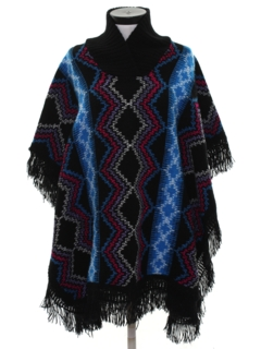 1980's Womens Hippie Poncho Sweater