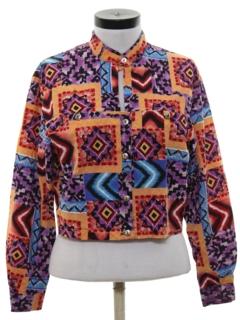 1980's Womens Geometric Western Style Shirt