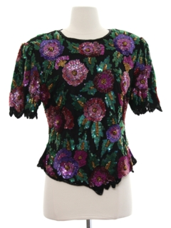 1980's Womens Totally 80s Designer Sequined Cocktail Shirt