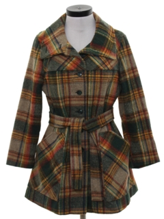 1960's Womens Mod Wool Car Coat Jacket