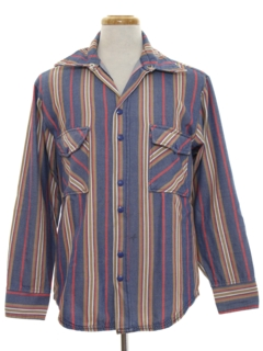 1970's Mens Denim Print Shirt