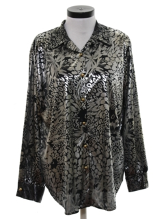 1980's Womens Print Cocktail Disco Style Shirt