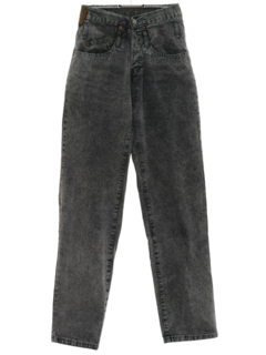 1980's Womens Overdyed Tapered Leg Denim Jeans Pants