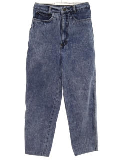 1990's Womens Acid Washed Denim Cropped Jeans Pants