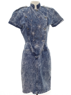 1980's Womens Totally 80s Acid Washed Denim Dress