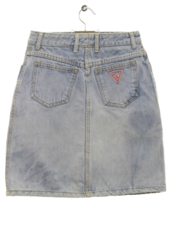 1980's Womens or Girls Totally 80s Acid Washed Denim Skirt