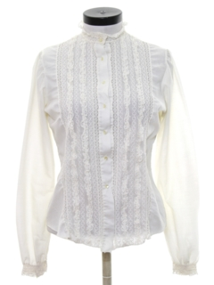 1970's Womens Ruffled Front Secretary Shirt