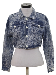 1980's Womens Totally Cropped 80s Acid Washed Denim Jacket