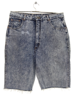 1980's Mens Totally 80s Acid Washed Cut Off Denim Shorts