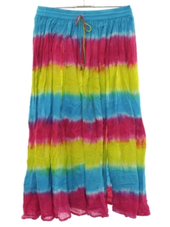 1990's Womens Tie Dye Hippie Broomstick Skirt