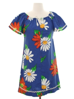 1970's Womens Hawaiian Hippie Dress