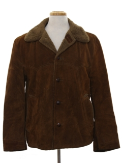 1970's Mens Western Style Suede Leather Car Coat Jacket