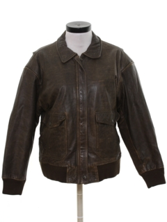 1980's Womens Bomber Leather Flight Jacket