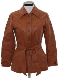 1970's Womens Leather Car Coat Jacket