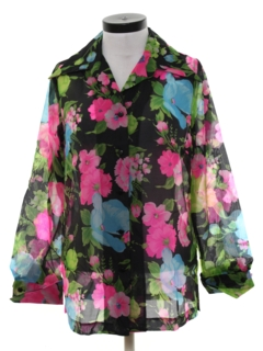 1970's Womens Sheer Floral Shirt