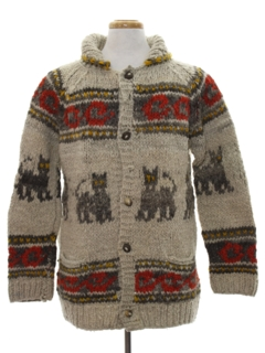 1980's Mens Cheesy Kitschy Ugly Cat Hippie Sweater