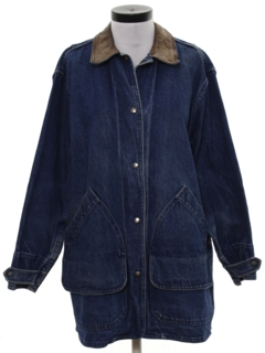 1980's Womens Wicked 90s Denim Car Coat Style Jacket