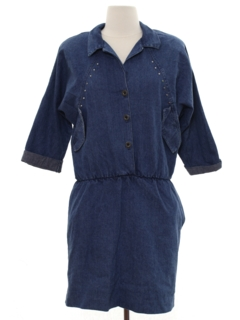 1980's Womens Totally 80s Mini Denim Dress