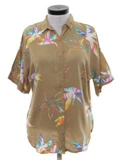 1980's Womens Totally 80s Hawaiian Style Print Shirt