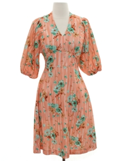 1970's Womens Print Knit Dress