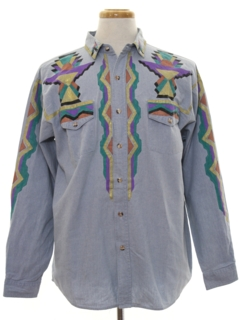 1980's Mens Hand Painted Denim Shirt