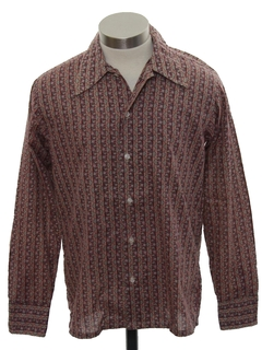 1970's Mens/Boys Cotton Blend Print Disco Style Sport Shirt