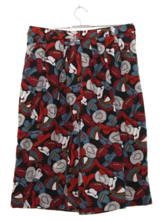 1980's Womens Totally 80s Western Print Shorts
