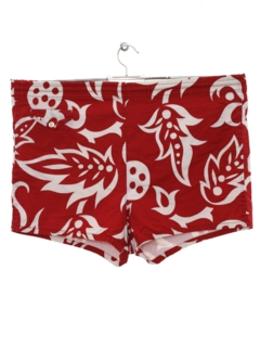 1950's Mens Mod Hawaiian Style Swim Shorts