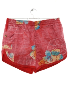 1980's Mens Reverse Print Hawaiian Swim Shorts