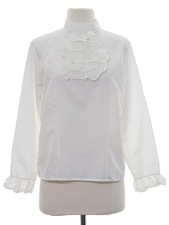 1960's Womens Ruffled Front Secretary Shirt