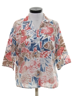 1980's Womens Totally 80s Batik Print Shirt