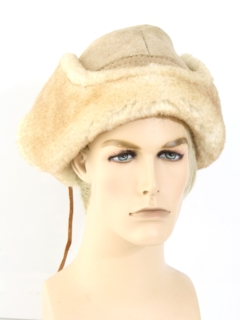 1980's Unisex Accessories - Sheepskin Suede Leather Cap Hat