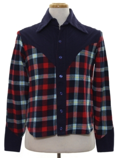 1970's Mens Flannel Plaid Western Shirt