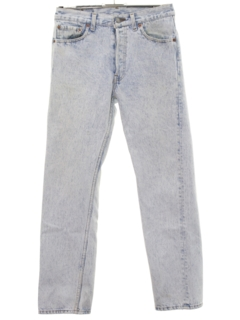 1980's Mens Totally 80s Acid Washed Buttonfly Jeans Pants