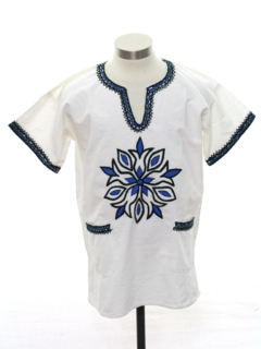 1970's Unisex Embroidered Hippie Shirt