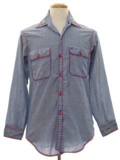 1970's Mens Embroidered Chambray Hippie Shirt