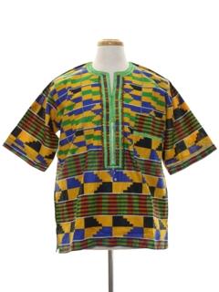 1990's Unisex Ethnic African Hippie Style Shirt