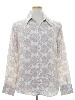 1960's Mens Cotton Blend Print Disco Style Shirt