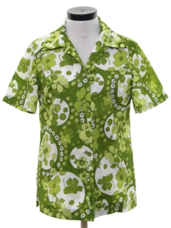 1970's Womens Mod Hawaiian Inspired SHirt