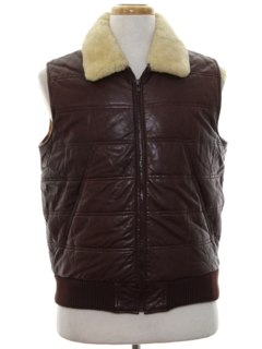 1980's Mens Totally 80s Leather Vest