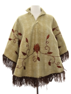 1970's Womens Embroidered Hippie Poncho Jacket