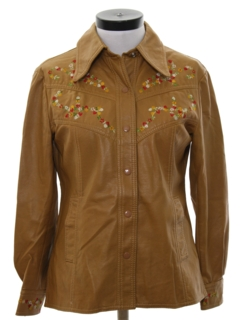 1970's Womens Faux Leather Embroidered Hippie Jacket
